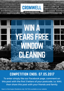 Cromwell Cleaning window cleaning, win free window cleaning for a year, facebook competition, free window cleaning, warrington